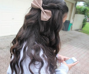 hair, bow, and tumblr image