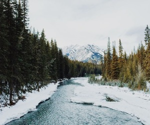 nature, snow, and river image