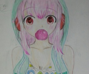 anime girl, bubble gum, and animalears image