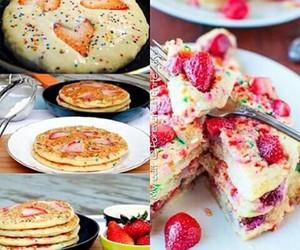pancakes, strawberry, and yummy image