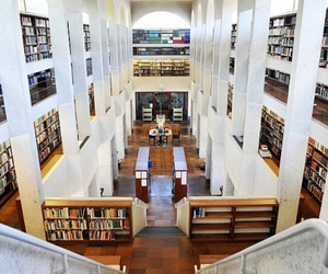 college, library, and school image