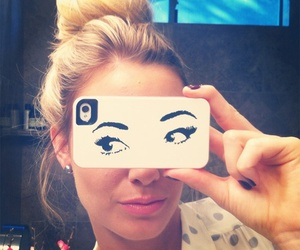 girl, iphone, and eyes image