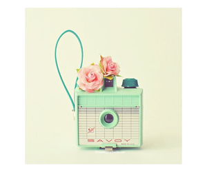 camera, pastel, and flowers image