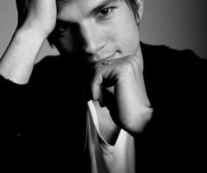 ashton kutcher, black and white, and photography image