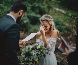 beard, bouquet, and dress image
