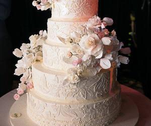 wedding, cake, and flowers image