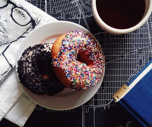 breakfast, chocolate, and donut image