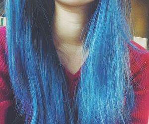 blue hair, dyed, and hair image