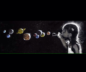 planets, bubbles, and girl image