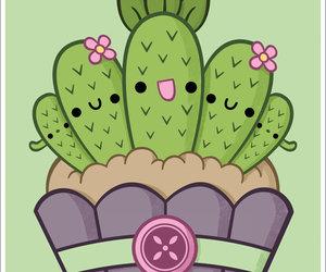 green, cactus, and cupcake image