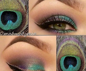 makeup, peacock, and eyes image