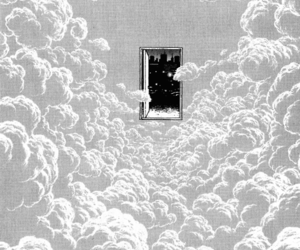 black and white, clouds, and manga image