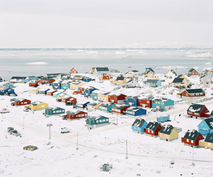 Houses, snow, and colorful image