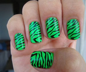nails, green, and zebra image