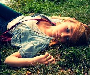 girl, grass, and photography image