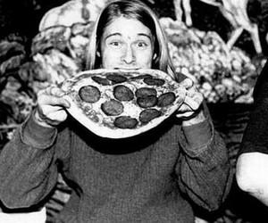 kurt cobain, pizza, and nirvana image