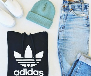 adidas, jeans, and fashion image