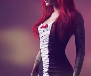 girl, red hair, and tattoo image