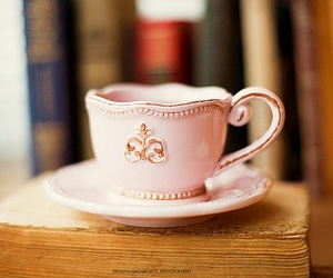 cup, books, and tea image