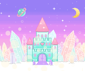 pastel, castle, and kawaii image