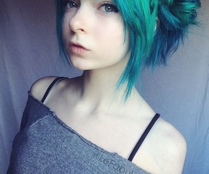 blue hair, girl, and cute image