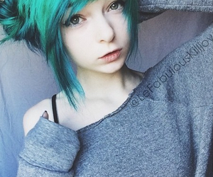beautiful, cute, and blue hair image