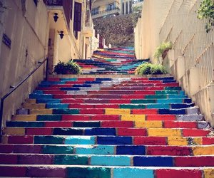 art, colors, and stairs image