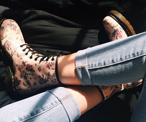 boots, flowers, and tumblr image