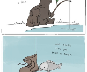 bear, fish, and funny image