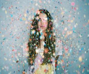 girl, confetti, and colors image