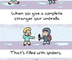 funny, spiders, and stranger image