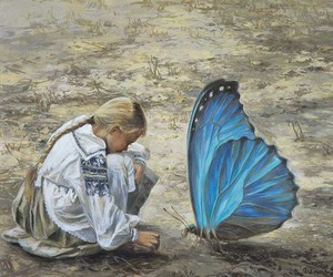 butterfly, art, and girl image