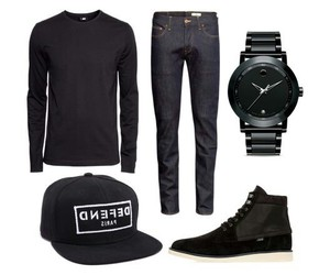 black, cap, and jeans image