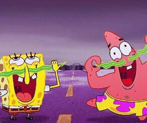 spongebob, patrick, and mustache image