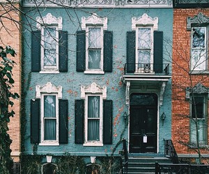 blue, house, and vintage image