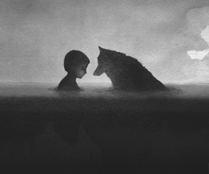 art and boy. wolf image