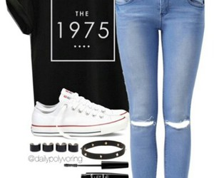 black t-shirt, converses, and white converses image