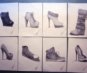 art, boots, and drawing image