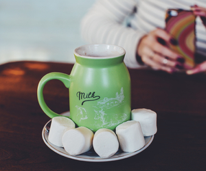 marshmallow, milk, and cafe image