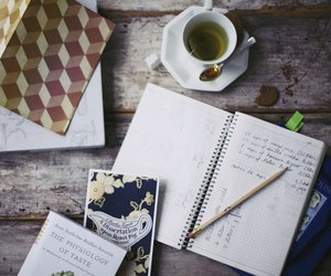tea, book, and notebook image