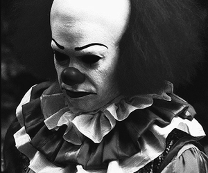 clown, b&w, and horror image