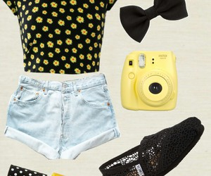 bow, outfit, and yellow image