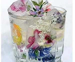 flowers, glass, and vodka image