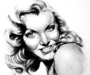 black and white, drawing, and monroe image