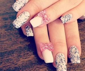 bows, nail art, and girly image