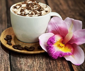 cappuccino, flowers, and chocolate image