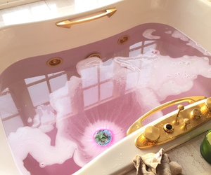 pink, bath, and gold image