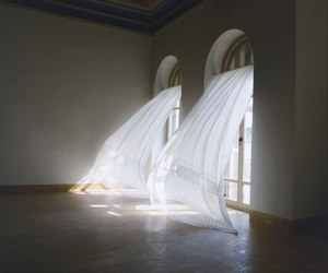 white, curtains, and wind image
