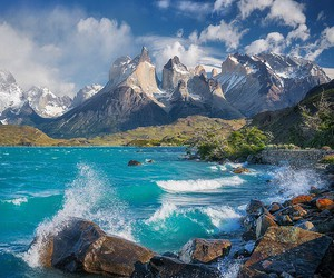 mountains, blue, and chile image