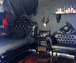 black, interior, and gothic image